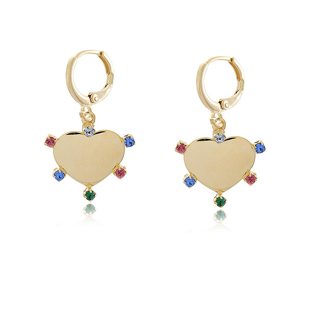 Brinco Mini Argola Coração Zircônias Coloridas 4988