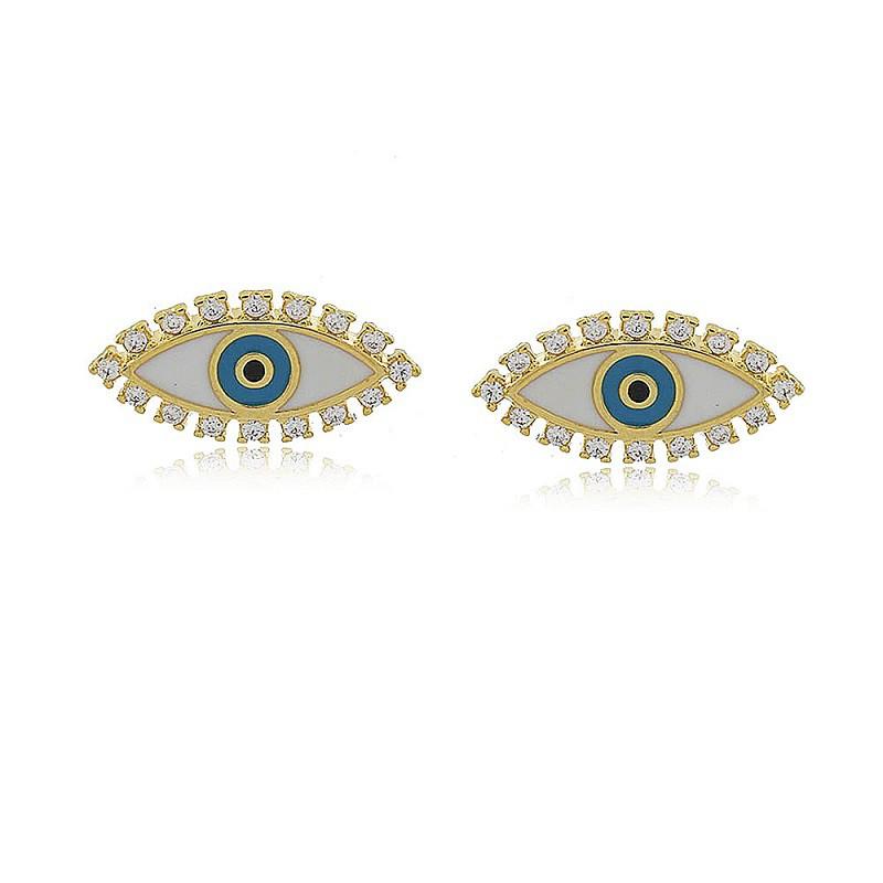 Brinco Olho Grego Esmaltado Zircônias 4749