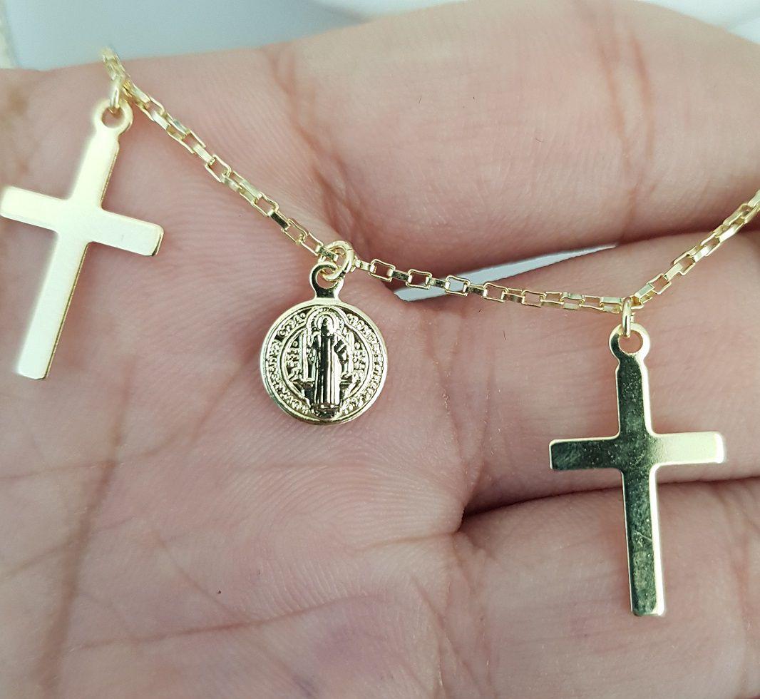 Chocker Cruz e Medalhas São Bento Pendentes 4217