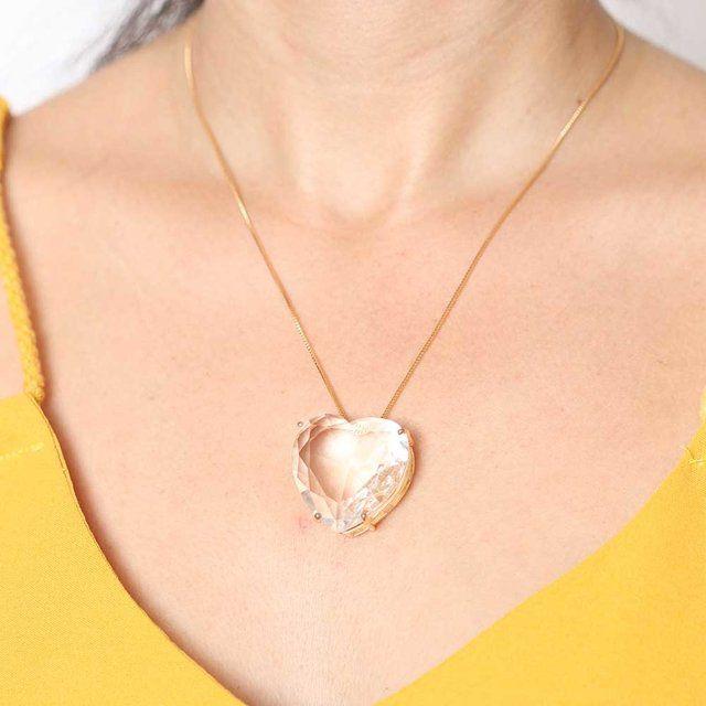 Colar Big Coração Cristal 4716