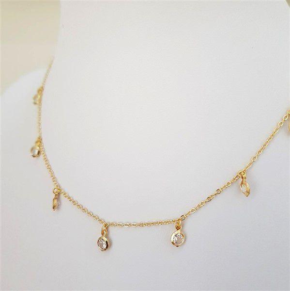 Colar Chocker com Pingente em Zircônias Cristal Inspired Tiffany 4080