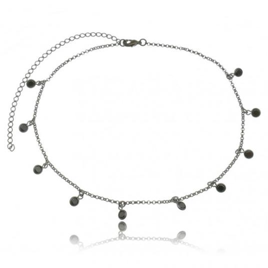 Colar Chocker com Pingente em Zircônias Negras Inspired Tiffany 4081