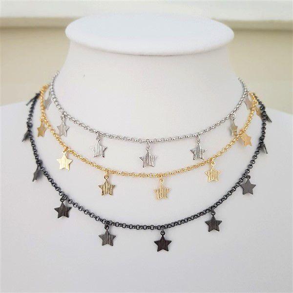 Colar Chocker de Estrelas 4079