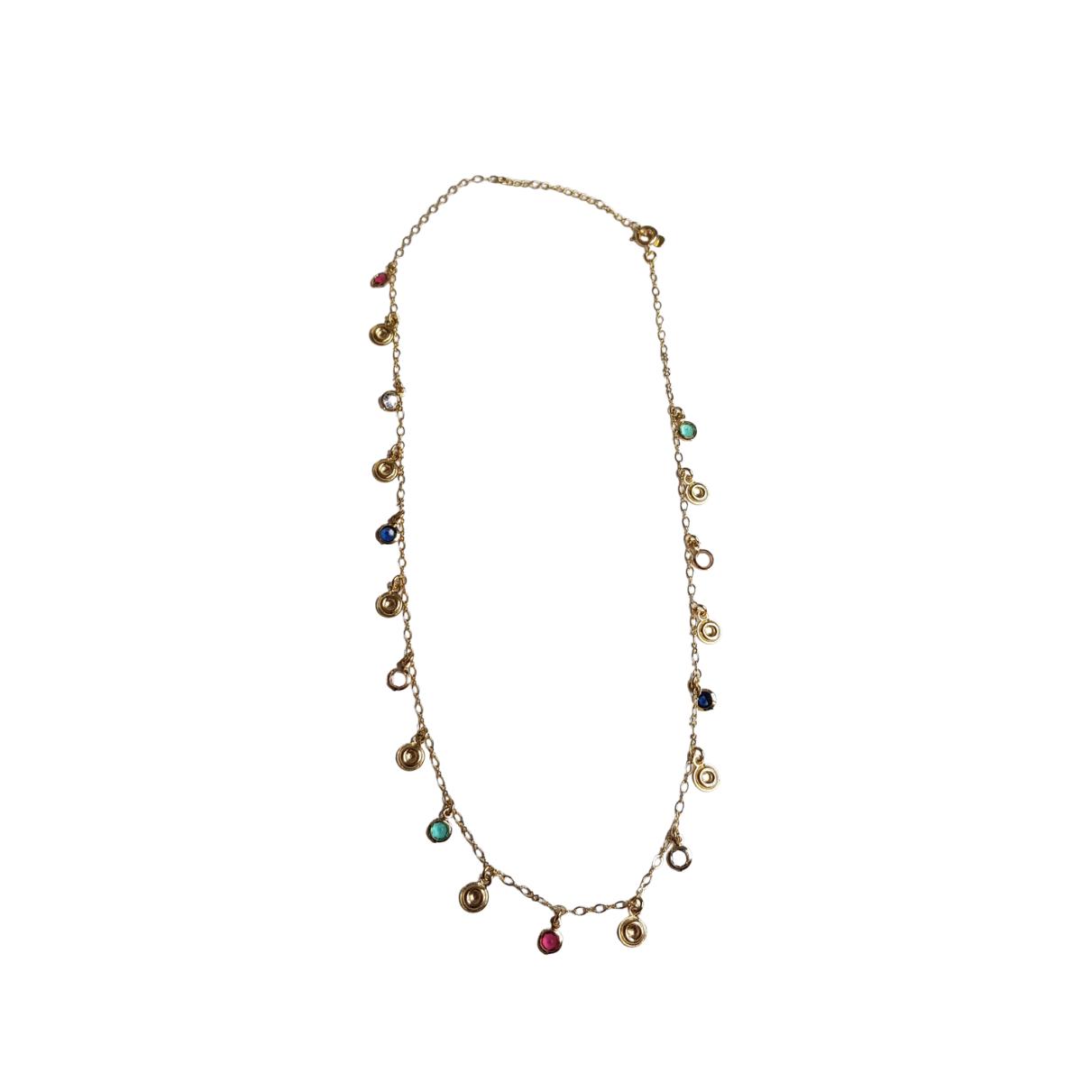 Colar Chocker Pedras Coloridas e Medalhas 4909