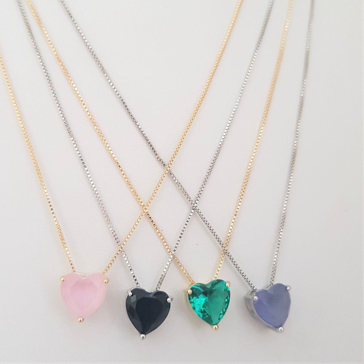 Colar Coração de Cristal 4399