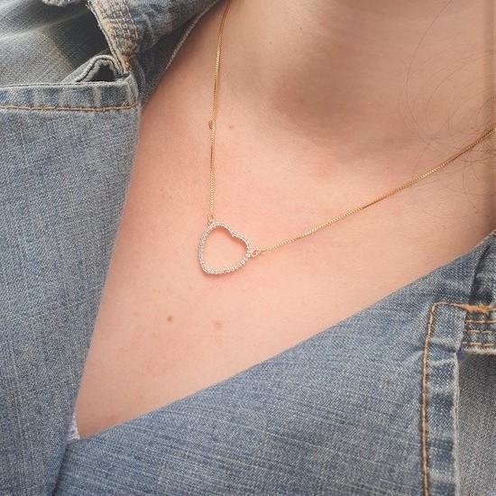 Colar Coração Moldura Microzircônias 4775