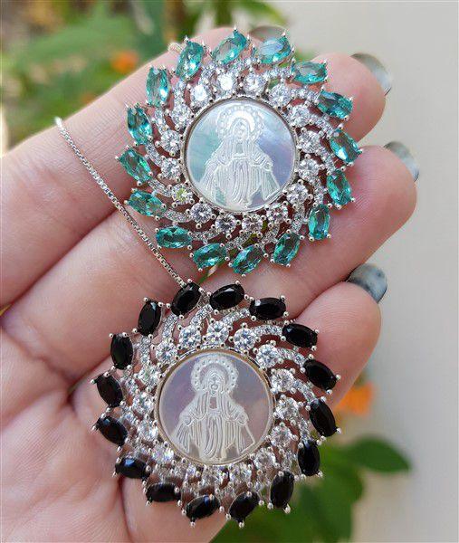 Colar Cristais com Madre Pérola Nossa Senhora das Graças 3832