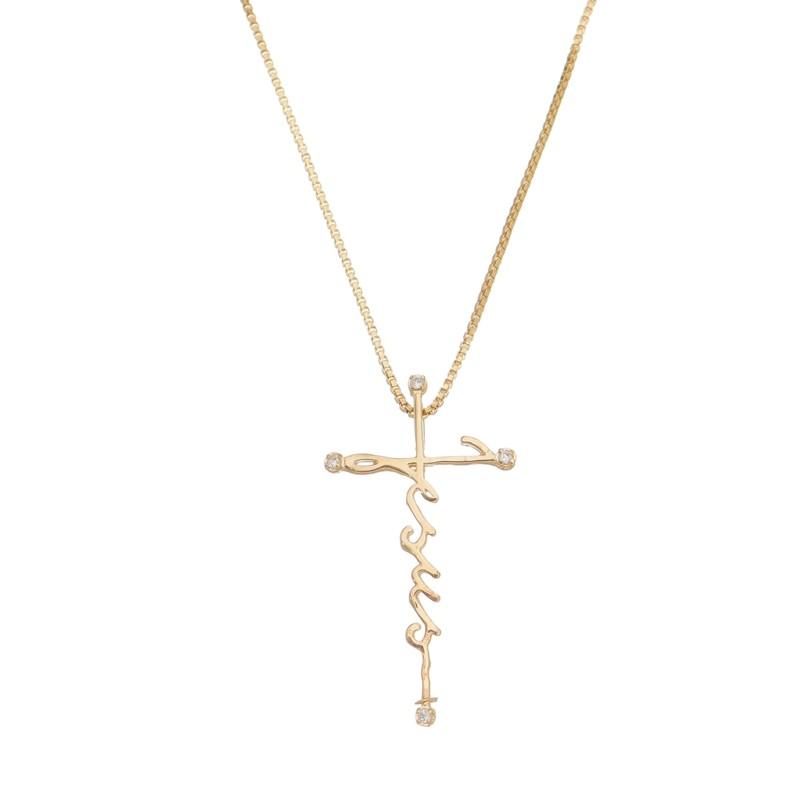 Colar Cruz Jesus com Zircônias 4984
