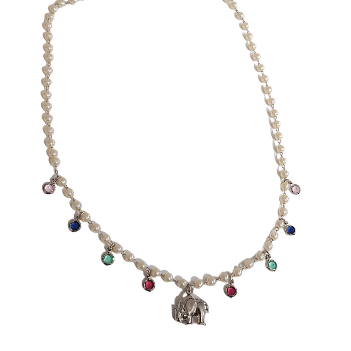Colar de Pérolas,Pedras Coloridas e Elefante 4906
