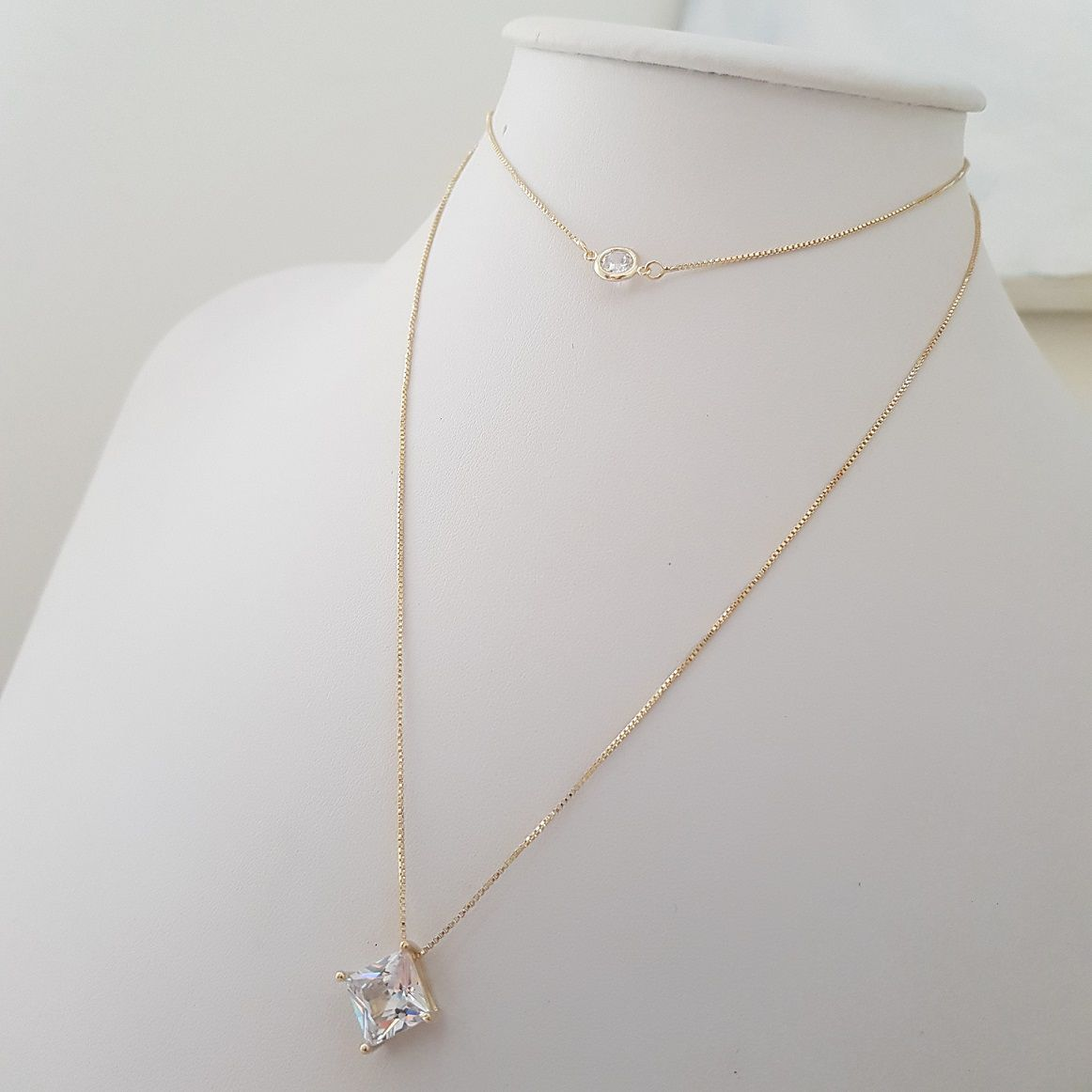Colar Duplo com Chocker Zircônias e Cristais 4413