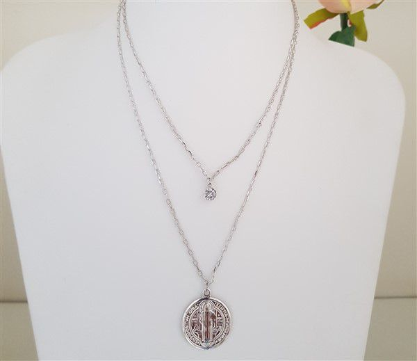 Colar Duplo Ponto de Luz e Medalha de São Bento 4215