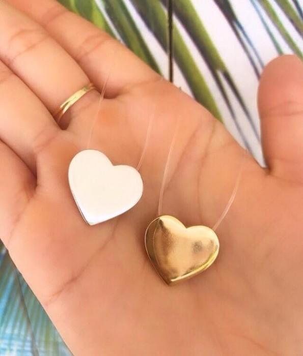 Colar Fio de Nylon Coração Chapa Liso  3849