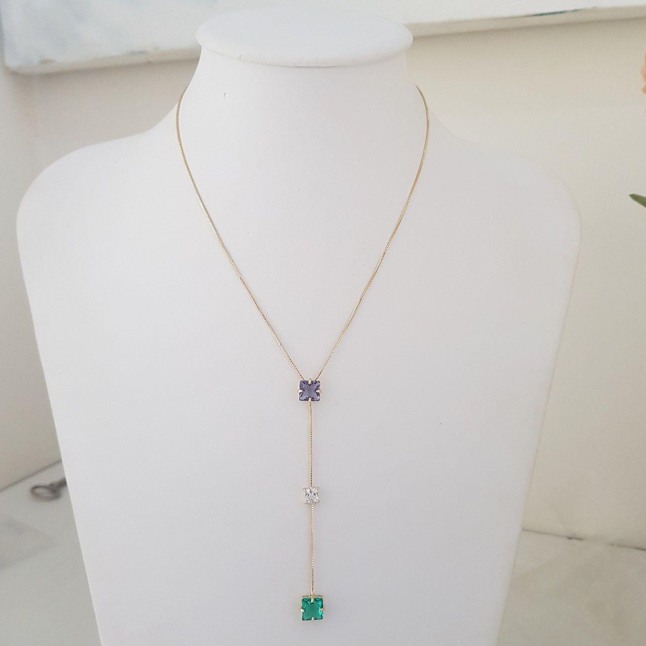 Colar Gravata Quadrados em Cristal 4420