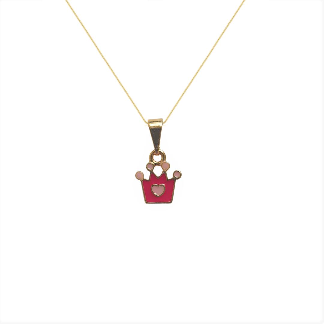 Colar Infantil Coroa com Coração Rosa 5144