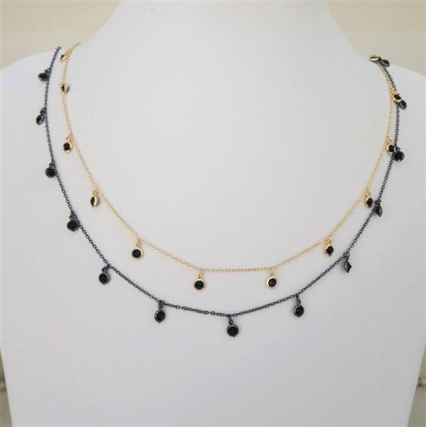 Colar Longo com Pingente em Zircônias Negras Inspired Tiffany 4083