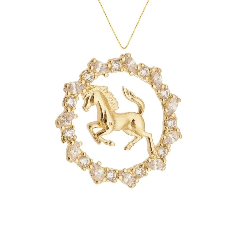Colar Mandala Zircônias Cavalo 4874