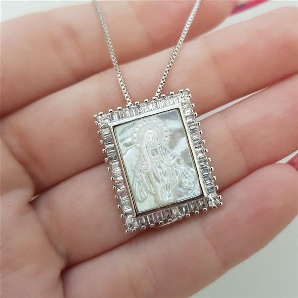Colar Medalha Madre Pérola Nossa Senhora das Graças 4006 Cristal