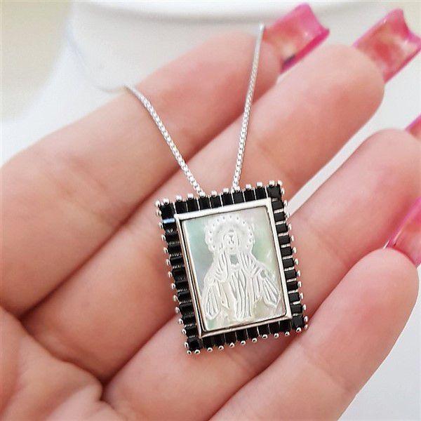 Colar Medalha Madre Pérola Nossa Senhora das Graças 4006 Negra