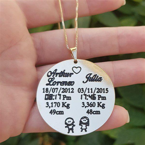 Colar Medalha Personalizado Nomes e Nascimento