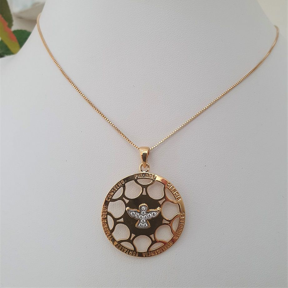 Colar Medalha Vazada Dons do Espírito Santo 3382