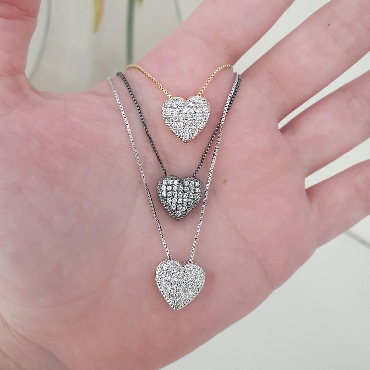 Colar Mini Coração com Microzircônias 3967