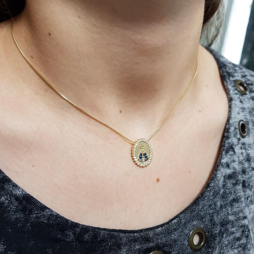 Colar Mini medalha Nossa Senhora Aparecida Moldura Microzirconias +  cor 4952