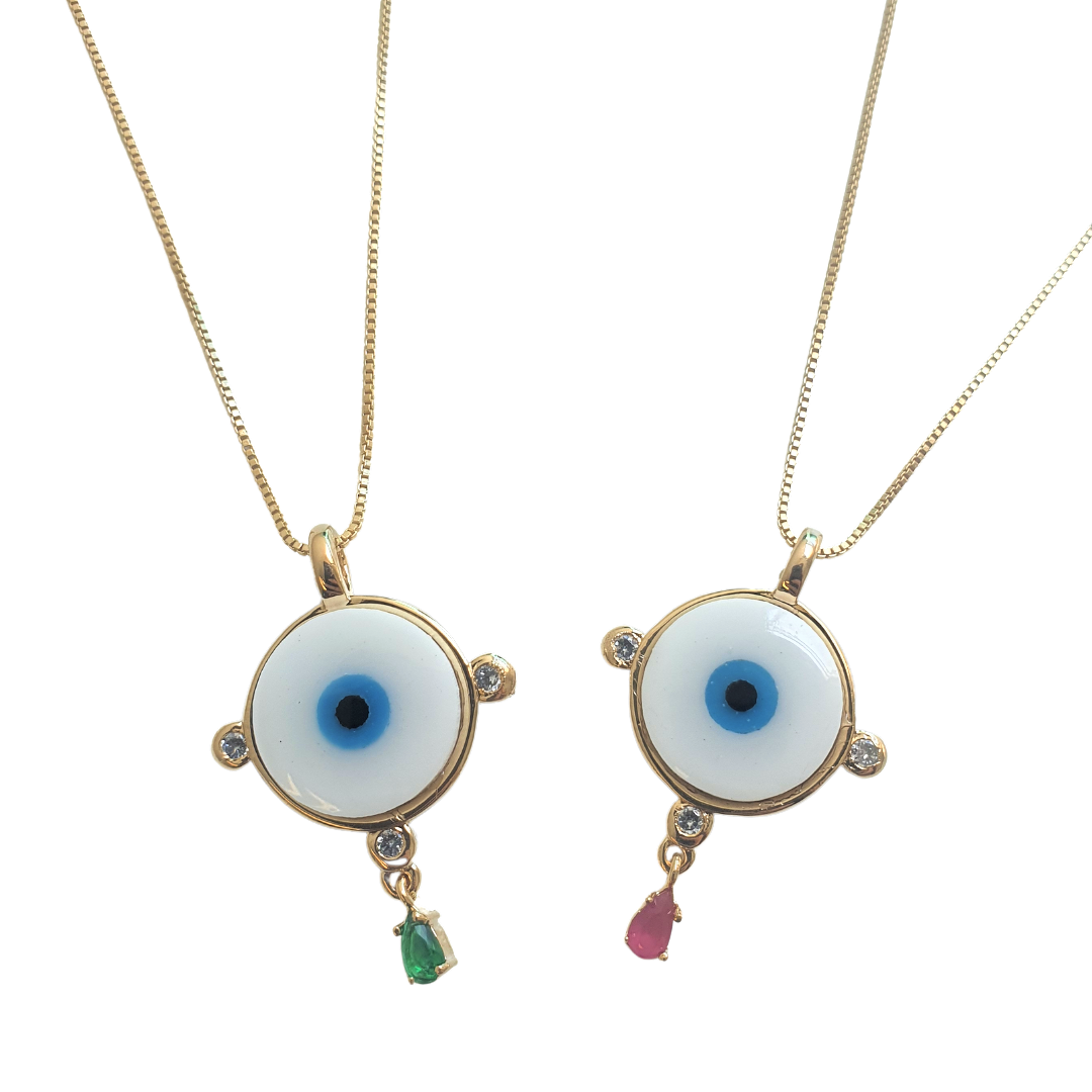 Colar Olho Grego com Zircônias e Gota Colorida 5029