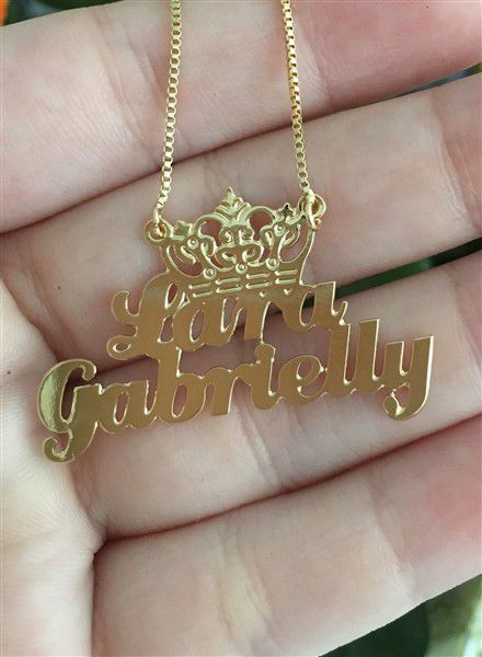 Colar Personalizado com Nome e Coroa