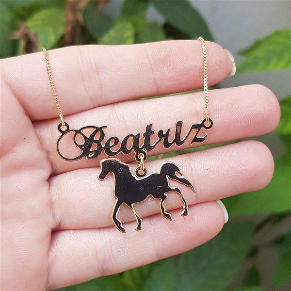 Colar Personalizado de Nome com Pingente Cavalo Pet