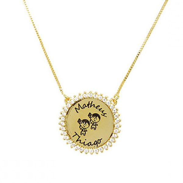 Colar Personalizado Medalha Aro de Zircônias