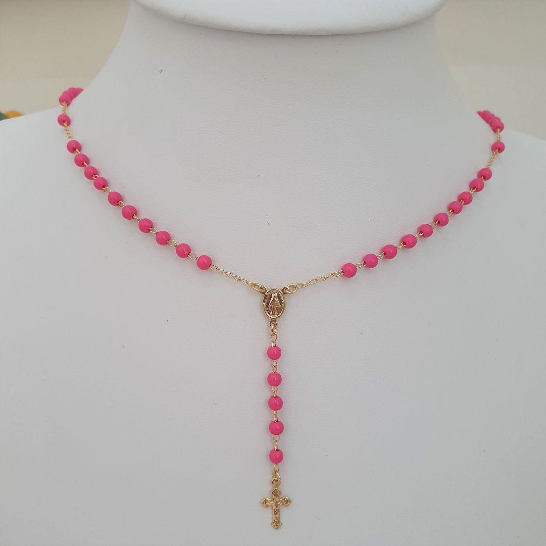 Colar Terço Bolinha Pink 3062