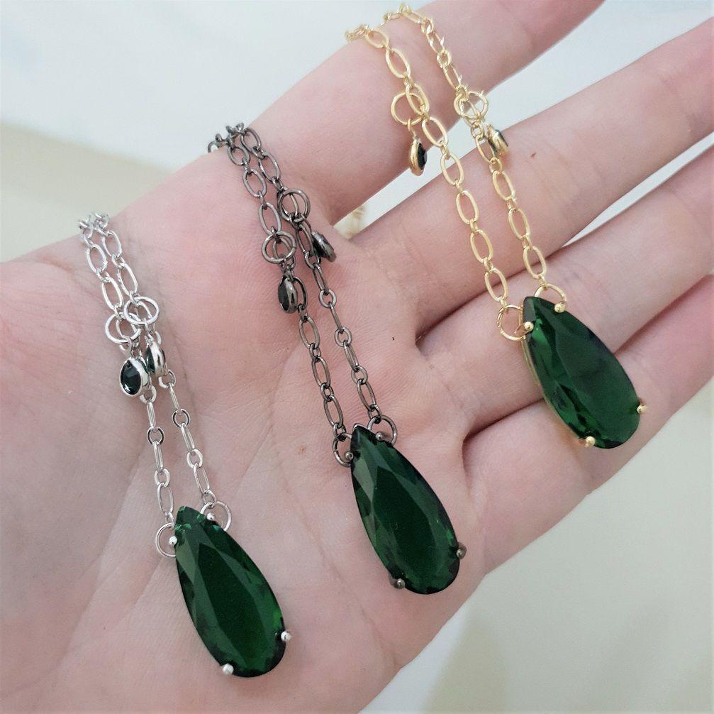 Colar Tiffany com Gota Verde Esmeralda 4289