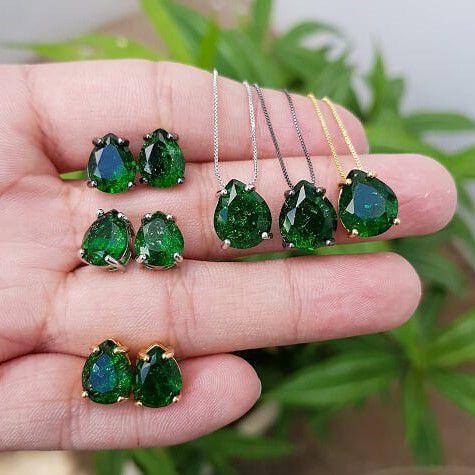 Conjunto Colar e Brincos Gota Fusion Verde 4036-