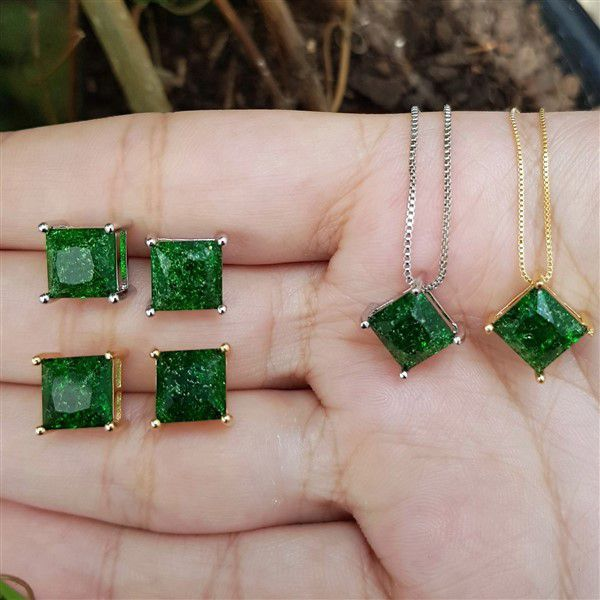 Conjunto Colar e Brincos Quadrado Fusion Verde 4041