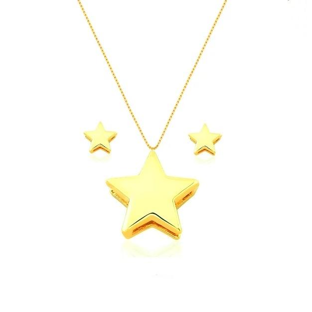 Conjunto Colar e Brincos Estrelas 4866