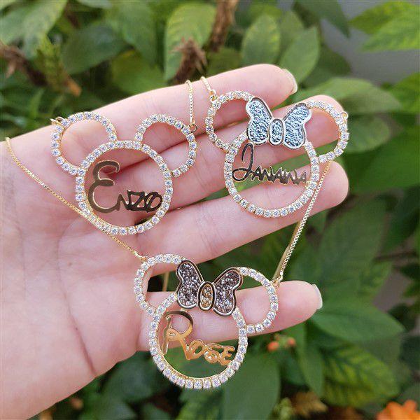 Colar Personalizado de Nomes Disney Minnie ou Mickey