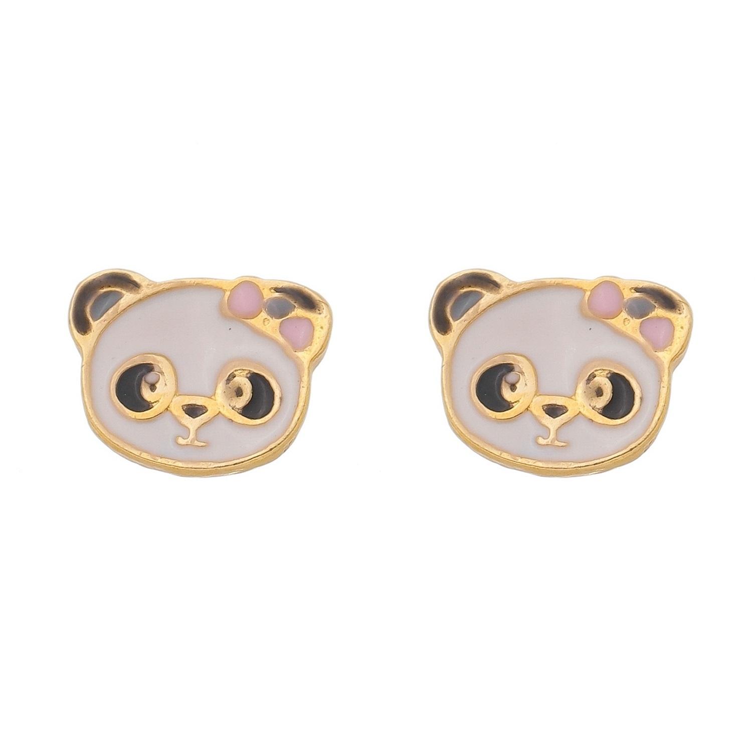 Kit Conjunto Infantil Brincos Colar e Pulseiras Panda