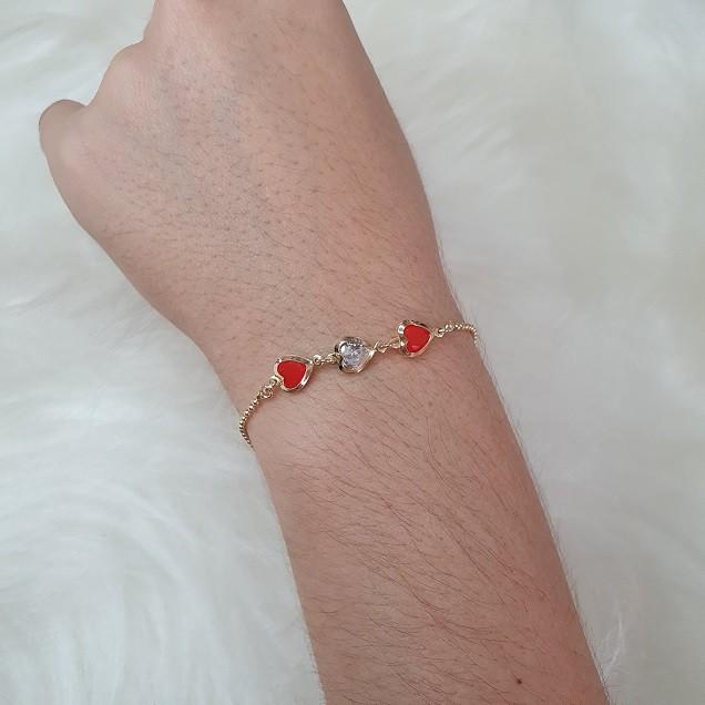 Pulseira Corrente Bolinha Corações coloridos Vermelho 4947