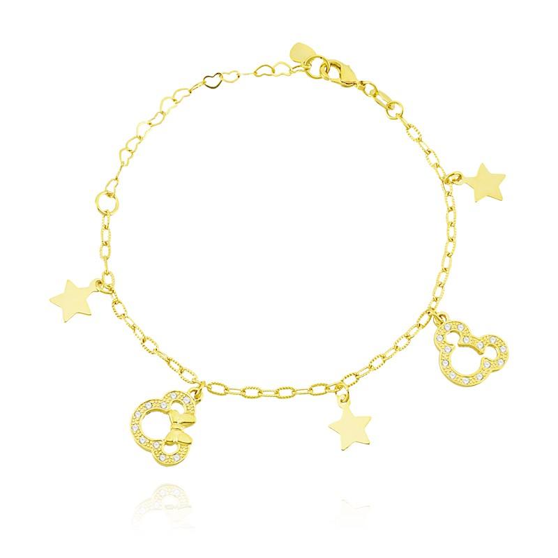 Pulseira Disney Mickey,Minnie e Estrelas 4812