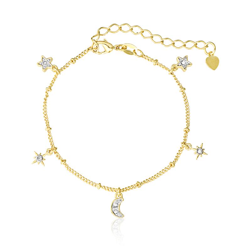 Pulseira Estrela e Lua com Zircônias 5013