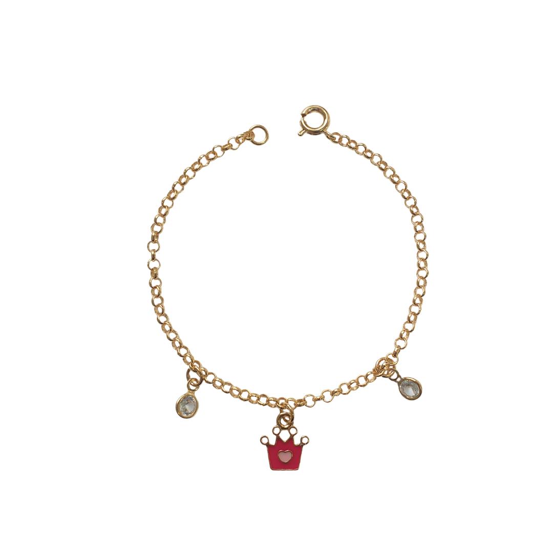 Pulseira Infantil Coroa com Coração Rosa 5145