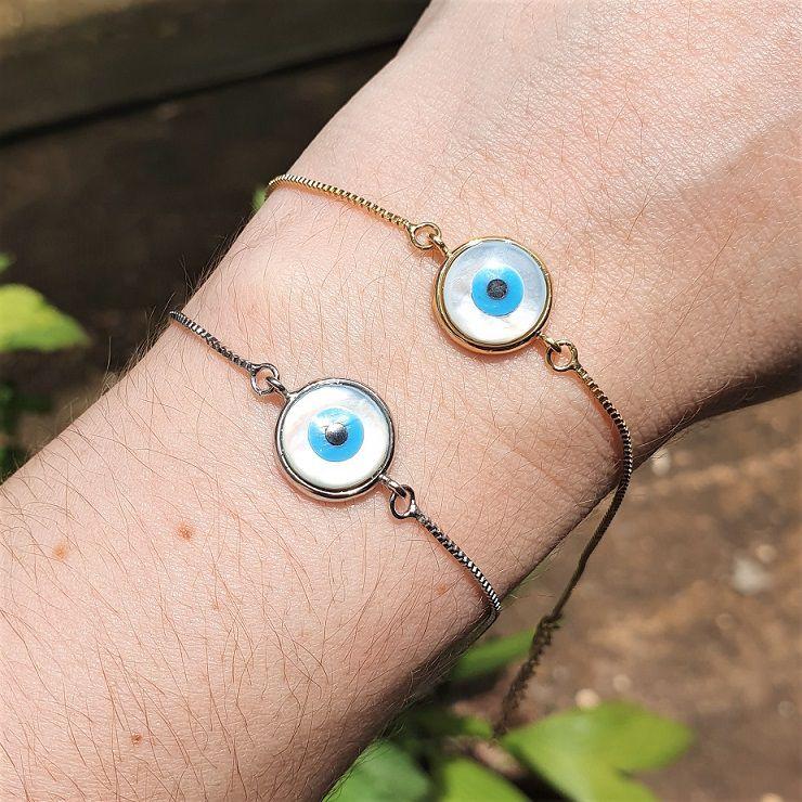Pulseira Olho Grego Madre Pérola 4472