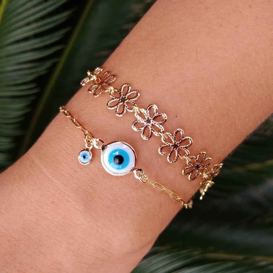 Pulseira Olho Grego Proteção Dupla 5054