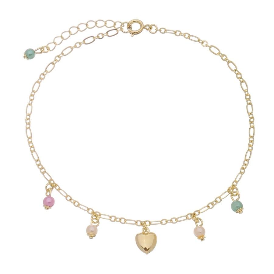 Tornozeleira Coração Pedras Coloridas 4981