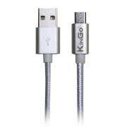 Cabo USB Android Kingo Prata Tipo Corda Premium