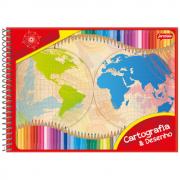 Caderno Cartografia Jandaia Espiral Flexível 48 Folhas