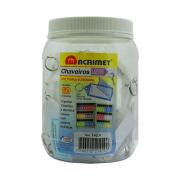 Chaveiro Etiqueta Acrimet Pote 60 Unidades Cristal 142.CR