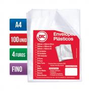 Envelope Plástico A4 4 Furos Fino 100 Unidades 55070A4-100 Dac