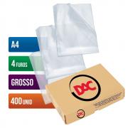 Envelope Plástico A4 4 Furos Grosso 400 Unidades 076A4 Dac
