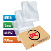 Envelope Plástico Ofício 2 Furos Extra Grosso 300 Unidades 090FU Dac